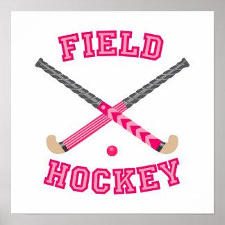 Pink Field Hockey Logo Poster