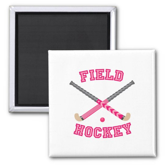 Pink Field Hockey Logo Square Magnet