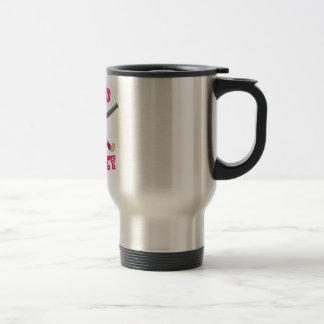 Pink Field Hockey Logo Stainless Steel Travel Mug