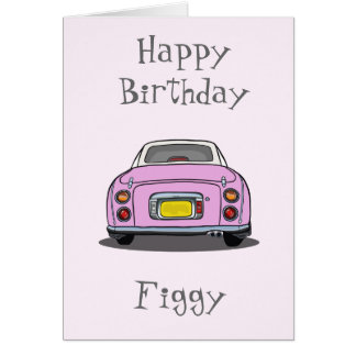 Pink Figaro Happy Birthday Car Greeting Card