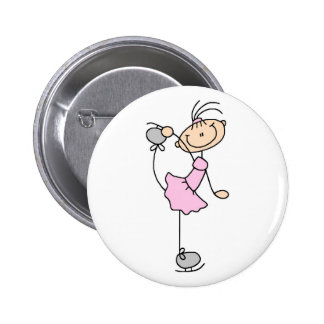 Pink Figure Skater Button