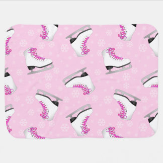 Pink Figure Skating Pattern Baby Blanket