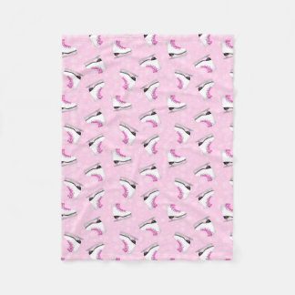 Pink Figure Skating Pattern Fleece Blanket