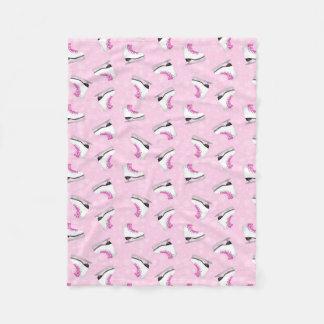 Pink Figure Skating Pattern Fleece Blanket