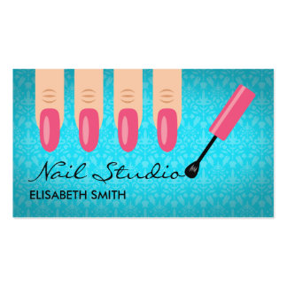 Pink Finger Nails On Blue Nail Studio Double-Sided Standard Business Cards (Pack Of 100)