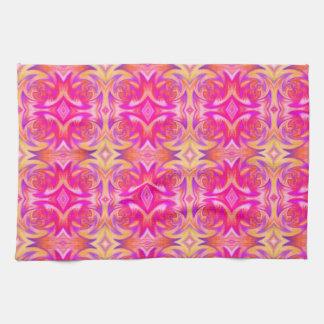 pink fire tea towel