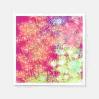 Pink Fireworks Paper Napkin