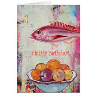 Pink Fish and Fruit Bowl Digital Collage, Birthday Greeting Card