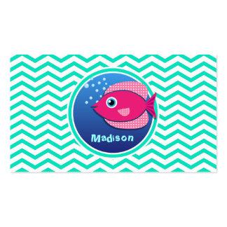 Pink Fish Aqua Green Chevron Business Card Template
