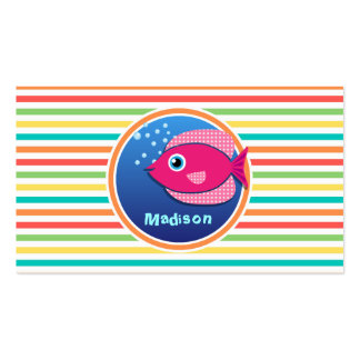 Pink Fish Bright Rainbow Stripes Business Cards