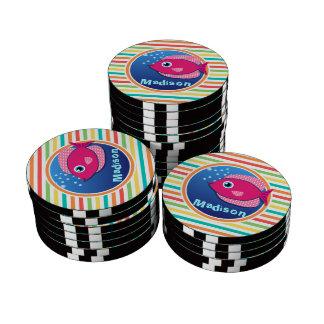 Pink Fish; Bright Rainbow Stripes Poker Chip Set