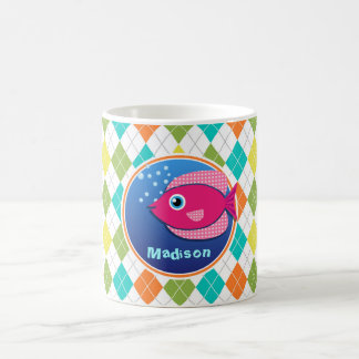 Pink Fish on Colorful Argyle Pattern Coffee Mug