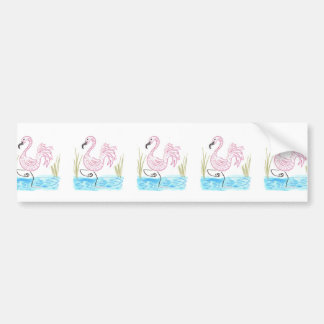 Pink Flamingo #13 by EelKat Wendy C Allen Bumper Sticker