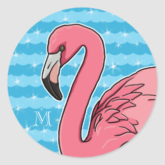 Pink Flamingo and Blue Waves, Add Monogram Round Stickers