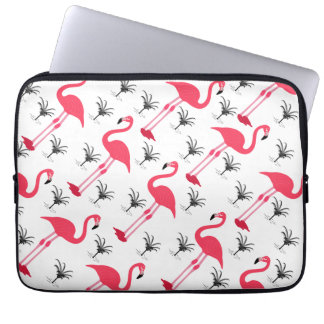 Pink Flamingo and Palm Tree Laptop Sleeve