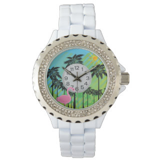 pink flamingo and palms rhinestone watch