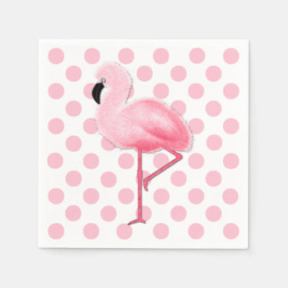 Pink Flamingo and Polka Dot Napkins Disposable Serviettes