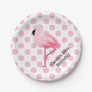 Pink Flamingo and Polka Dots Custom Paper Plates