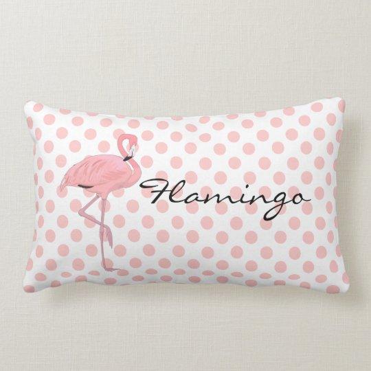 Pink Flamingo and Polka Dots Throw Pillow