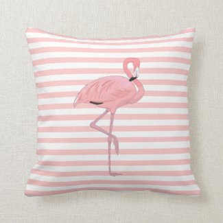 Pink Flamingo and Stripes Throw Pillow