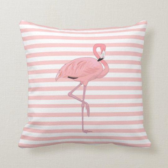 Pink Flamingo and Stripes Throw Pillow