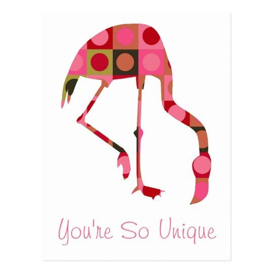 Pink Flamingo Art Inspirational Message Postcard