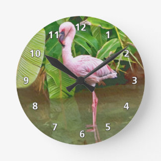 Pink Flamingo at the Lake Round Clock