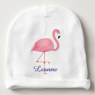 Pink Flamingo baby beanie hat with name