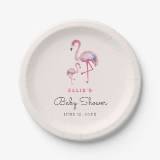 Pink Flamingo Baby Shower plates