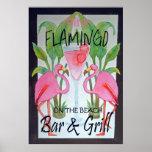 Pink Flamingo Bar & Grill Beach Poster Watercolor