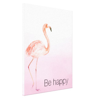 Pink Flamingo Be Happy Canvas Print