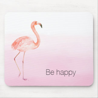 Pink Flamingo Be Happy Mouse Mat