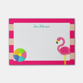 Pink Flamingo Beach Small Personalized Post-it® Notes