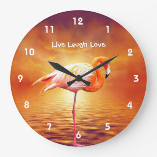 Pink Flamingo Beach Wall Clock