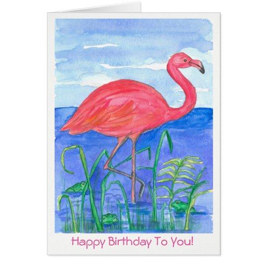 Pink Flamingo Bird Happy Birthday Card