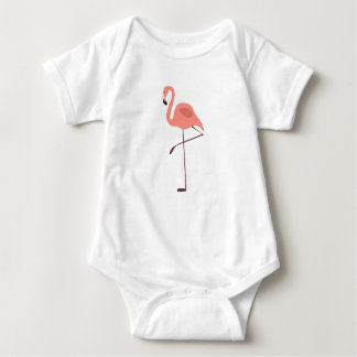 Pink Flamingo Bird Illustration Baby Bodysuit