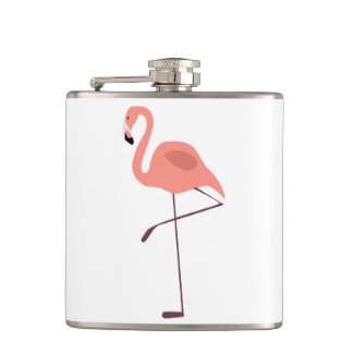 Pink Flamingo Bird Illustration Hip Flask