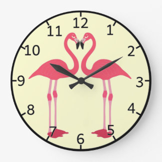 Pink flamingo-birds-love-heart large clock