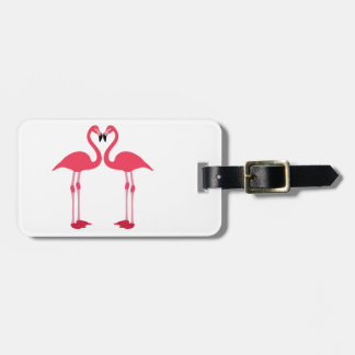 Pink flamingo-birds-love-heart luggage tag