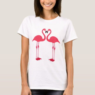Pink flamingo-birds-love-heart T-Shirt