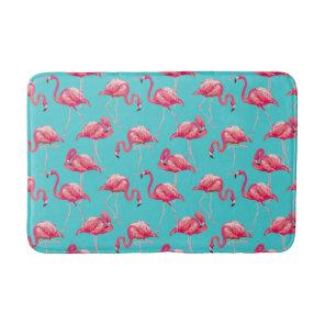 Pink flamingo birds on turquoise background bath mat
