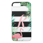 Pink Flamingo & Black Stripes Monogrammed iPhone 8/7 Case