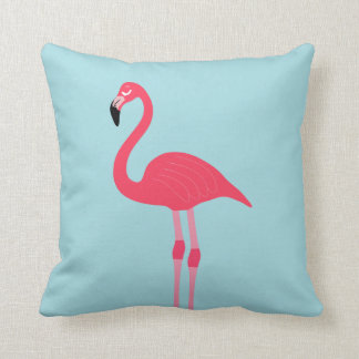 Pink Flamingo & Blue Background Cushion