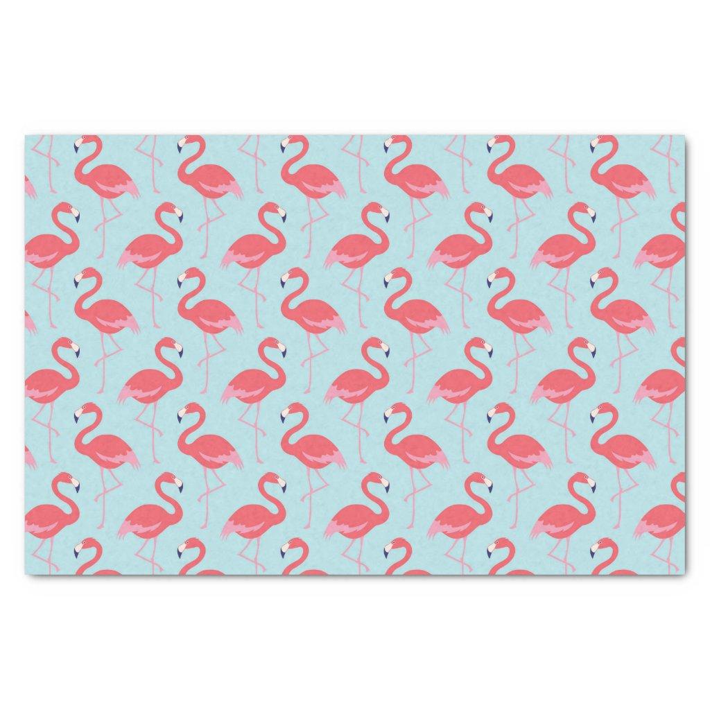 Pink flamingo blue pattern tissue paper
