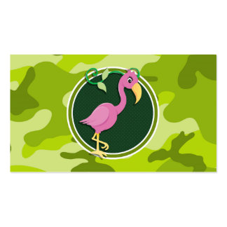Pink Flamingo bright green camo camouflage Business Cards