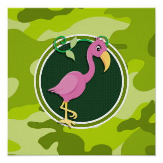 Pink Flamingo bright green camo camouflage Print