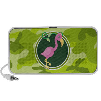 Pink Flamingo bright green camo camouflage Travelling Speaker