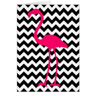 Pink Flamingo Chevron Thank You Card