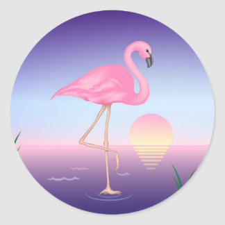 Pink Flamingo Classic Round Sticker