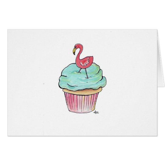 Pink Flamingo Cupcake Card